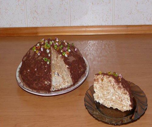 Торт без выпечки «Горка» из крекера